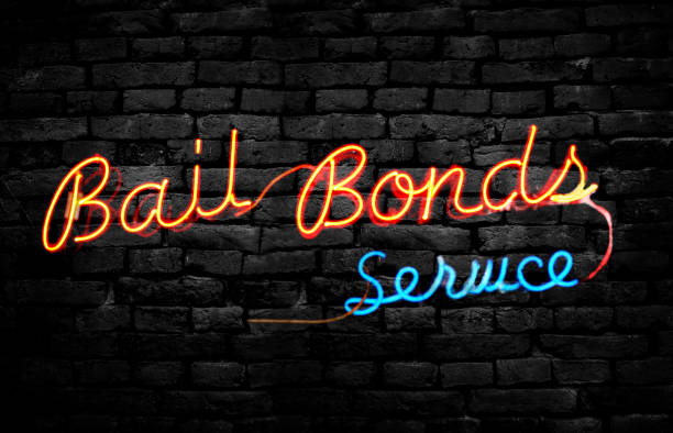 Bail Bond sign on wall stock photo