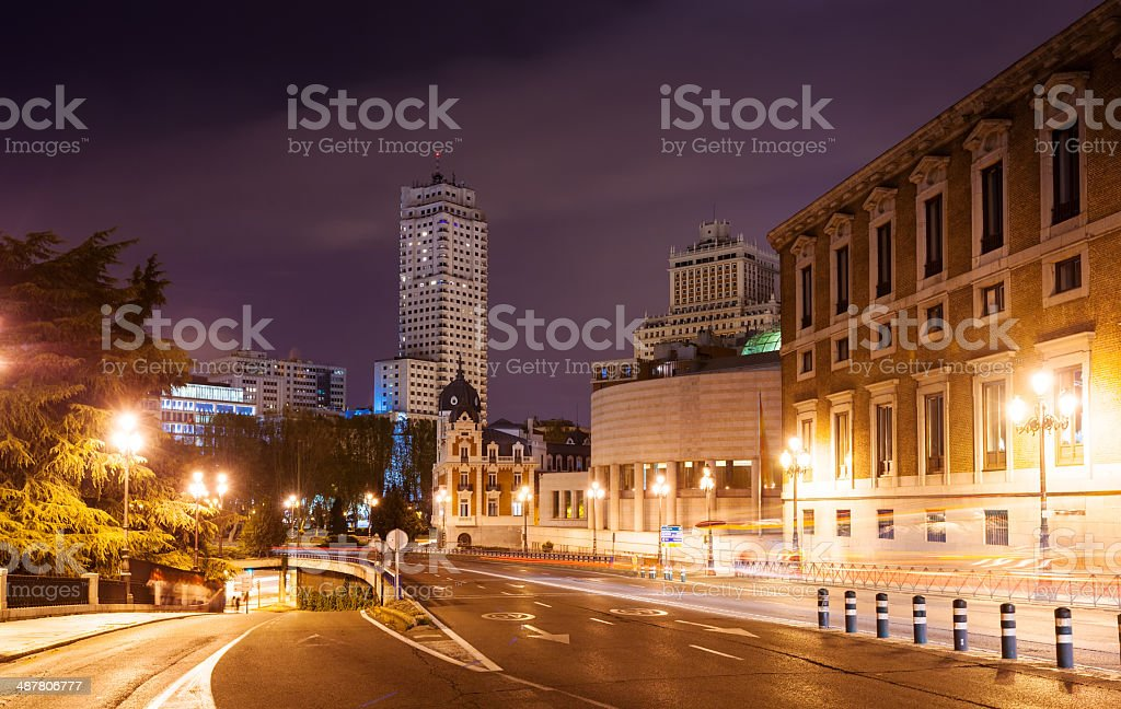 Bailen street and Spain Square in night royalty-free stock photo