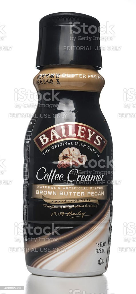 Baileys Brown Butter Pecan Coffee Creamer Bottle Stock Photo