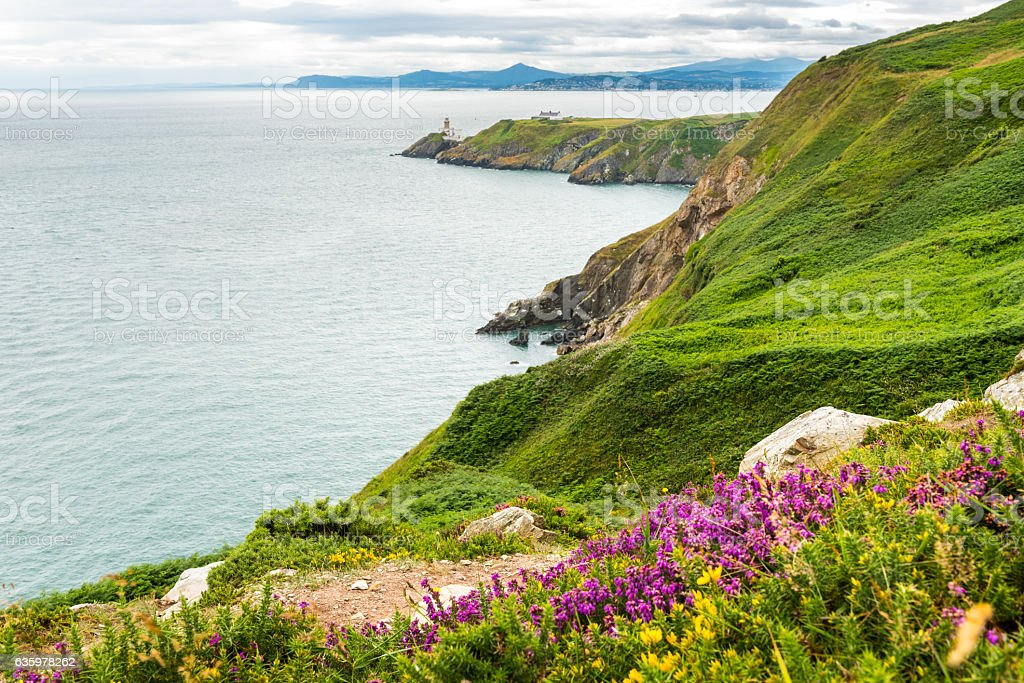 Baily Lighthouse in Howth peninsula, Co. Dublin, Republic of Ire stock photo