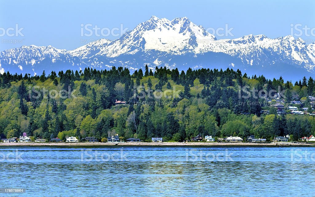Bainbridge Island Puget Sound Mount Olympus Snow Mountain Washington State stock photo