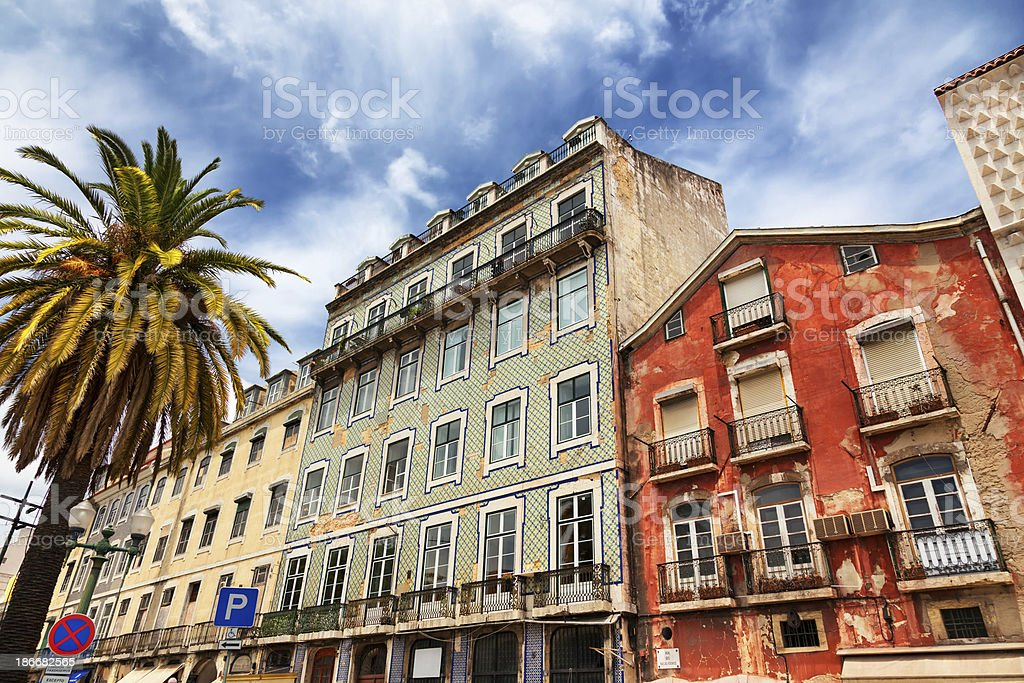 Baixa district of Lisbon in Summer, Portugal royalty-free stock photo