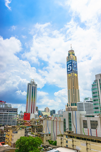 istock Baiyoke Tower I and II with a cloudy background, seen from Palladium Mall in Bangkok, Thailand. 692441830