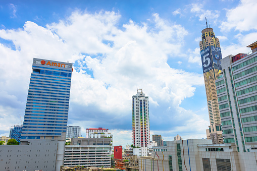 istock Baiyoke Tower I and II with a cloudy background, seen from Palladium Mall in Bangkok, Thailand. 692442162