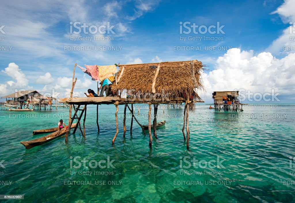 Bajau Laut Floating Village in Semporna stock photo