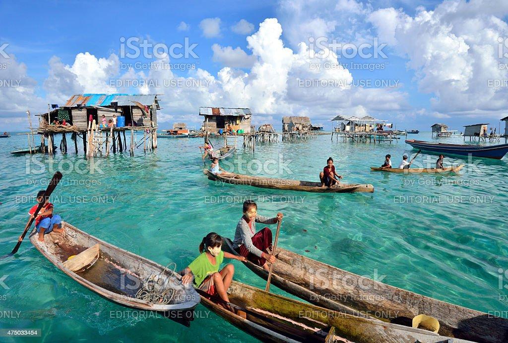Bajau Laut in Bodgaya Island near Sipadan Island. stock photo