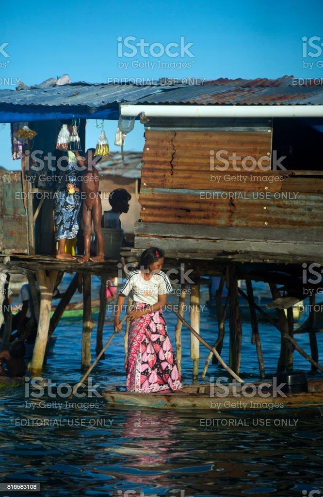 Bajau Sea Gypsies of Borneo on a Boat, Sabah stock photo