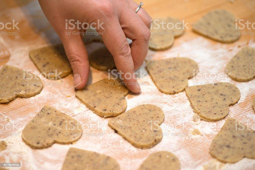 bake heartshape cookies for christmas stock photo