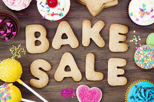 bake sale cookies stock photo