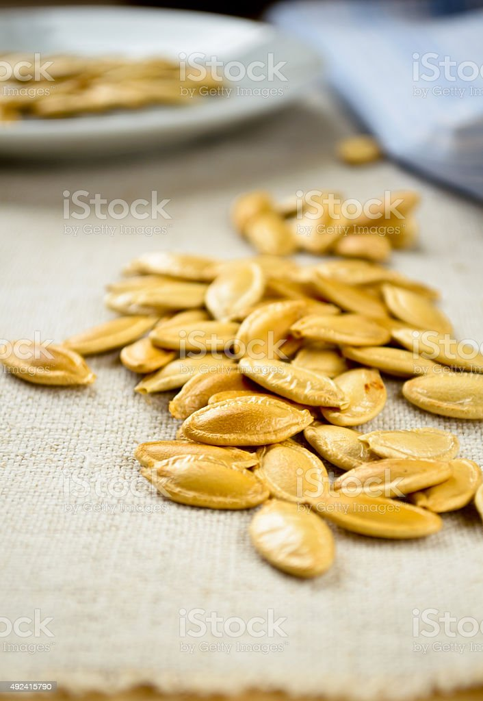 Baked and Salted Pumpkin Seeds stock photo
