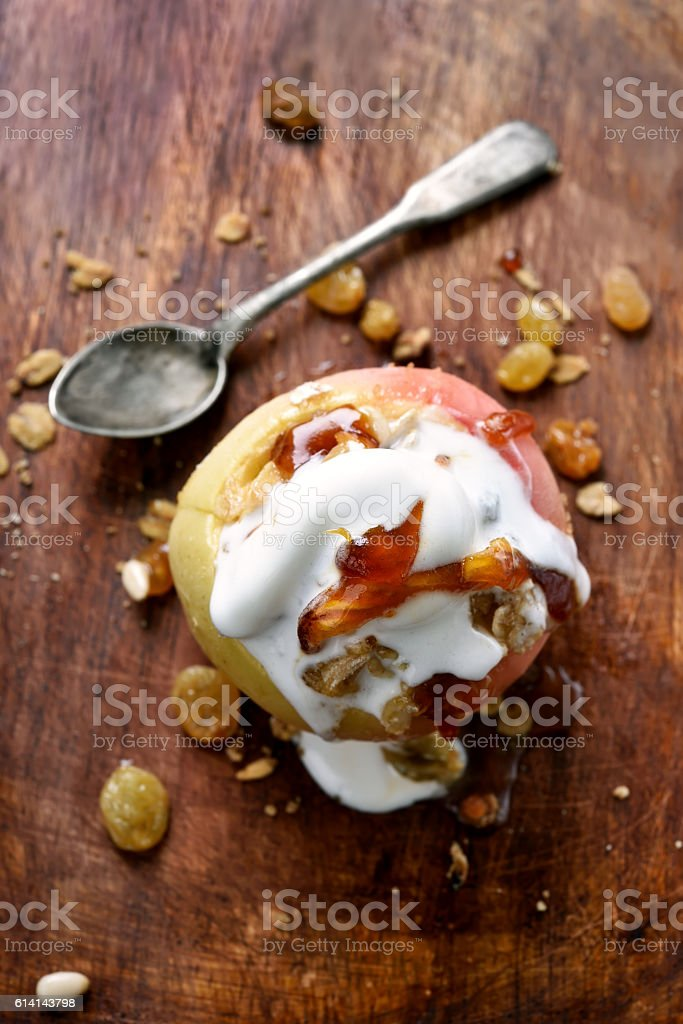 Baked apple served with ice cream stock photo