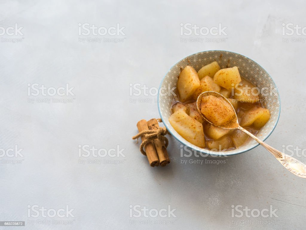Baked apple with cinnamon 免版稅 stock photo