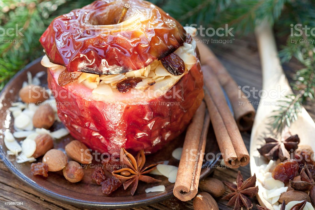 Baked apple with Spices stock photo