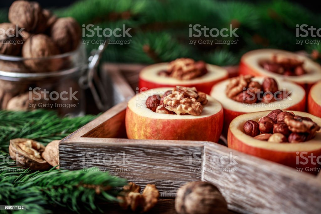 Baked Apples With Cinnamon On Rustic Background Autumn Or Winter Dessert Closeup Photo Of