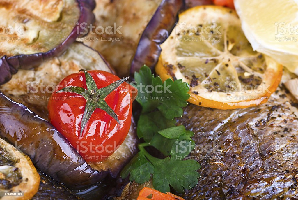 baked aubergines stuffed, close-up royalty-free stock photo