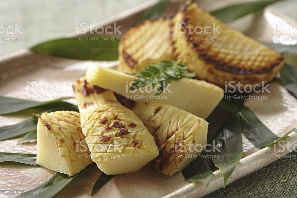 Baked bamboo shoot stock photo