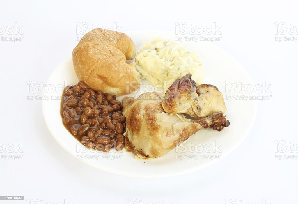 Baked Beans and Chicken stock photo