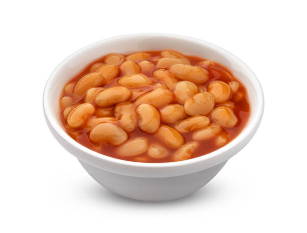 Baked beans in tomato sauce isolated on white background stock photo