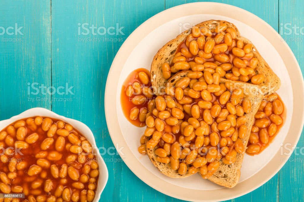 Baked Beans in Tomato Sauce on Toast stock photo