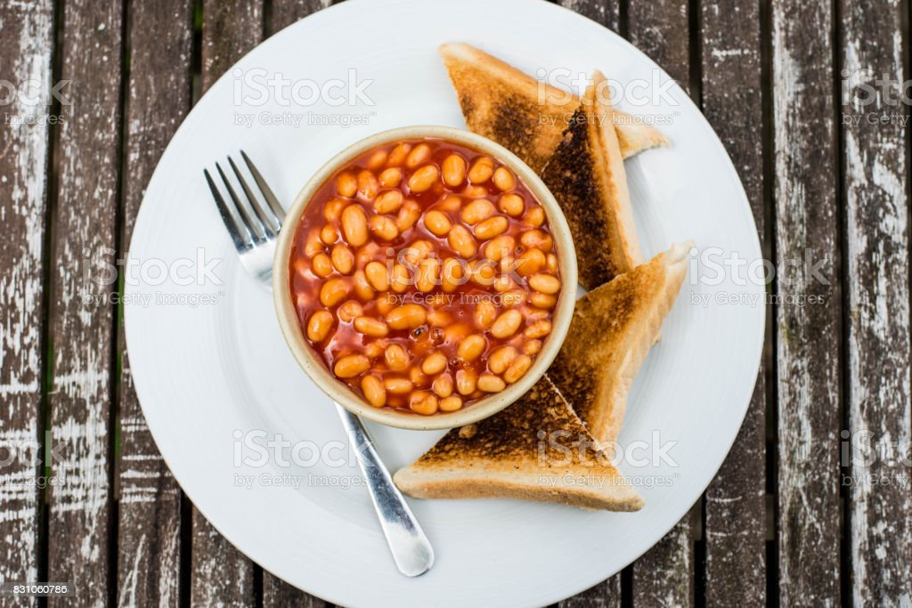 Baked Beans in Tomato Sauce With Toast stock photo