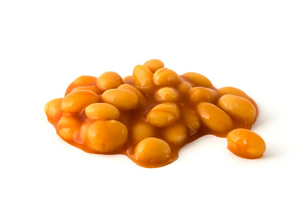 Baked beans isolated over white stock photo
