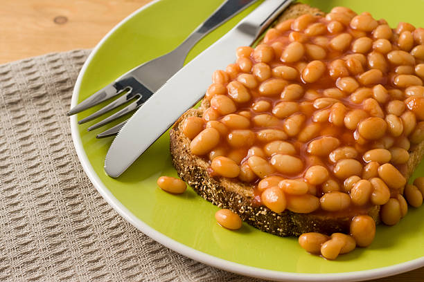 Baked Beans on Toast Close-up stock photo