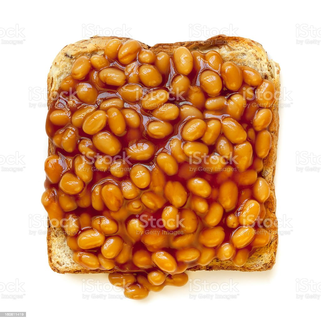 Baked Beans on Toast Isolated stock photo