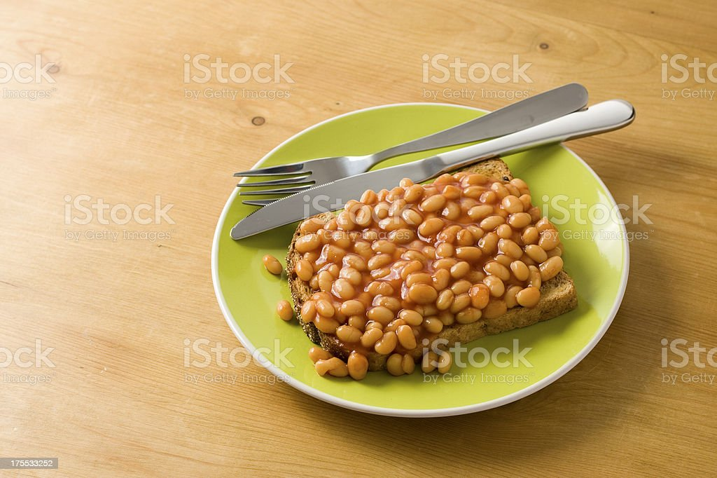 Baked Beans on toast stock photo