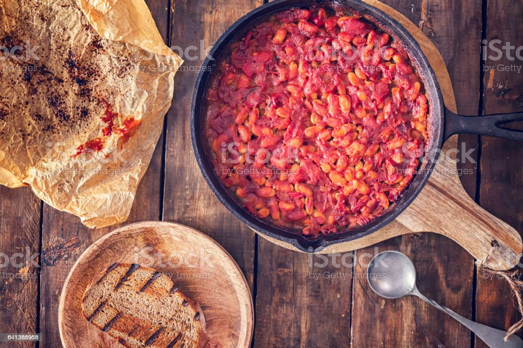 Baked Beans on Toasted Bread stock photo