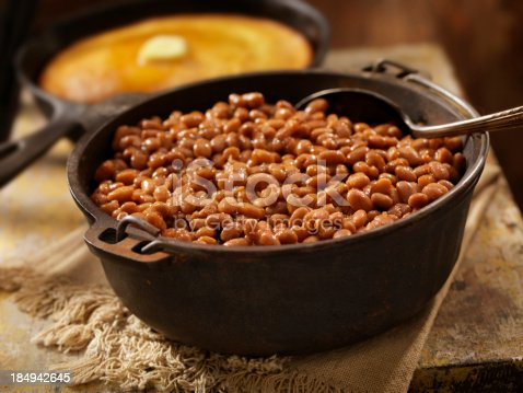 Baked Beans in a Cast Iron Bean Pot with Corn Bread-Photographed on Hasselblad H3D2-39mb Camera