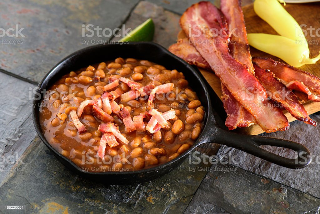 Baked Beans with Bacon stock photo
