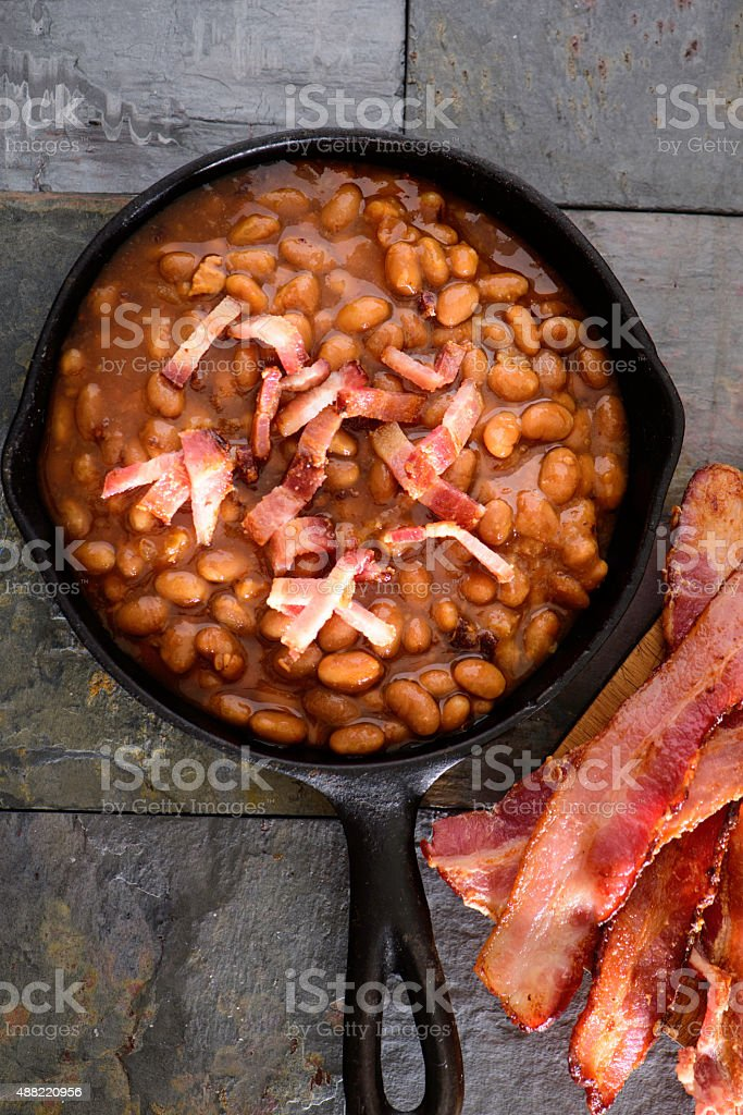 Baked Beans with chopped Bacon stock photo