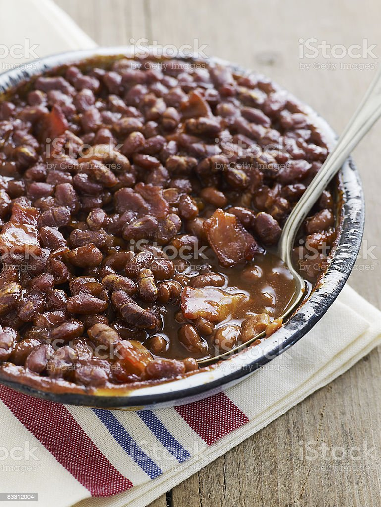 Baked Beans with pork royalty-free stock photo