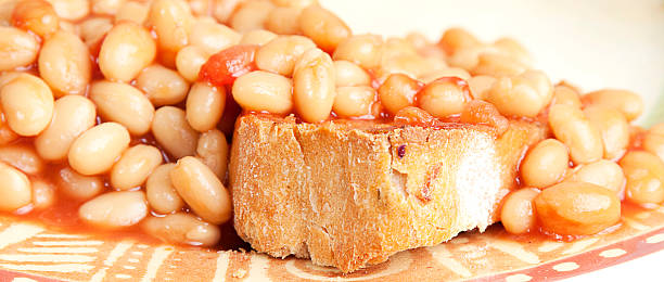 baked beanz on toast stock photo