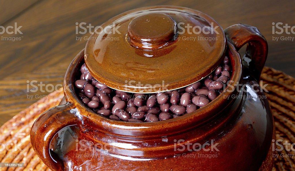 Baked black beans stock photo