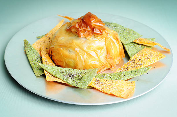 baked brie & pita chips - baked brie stock photos and pictures