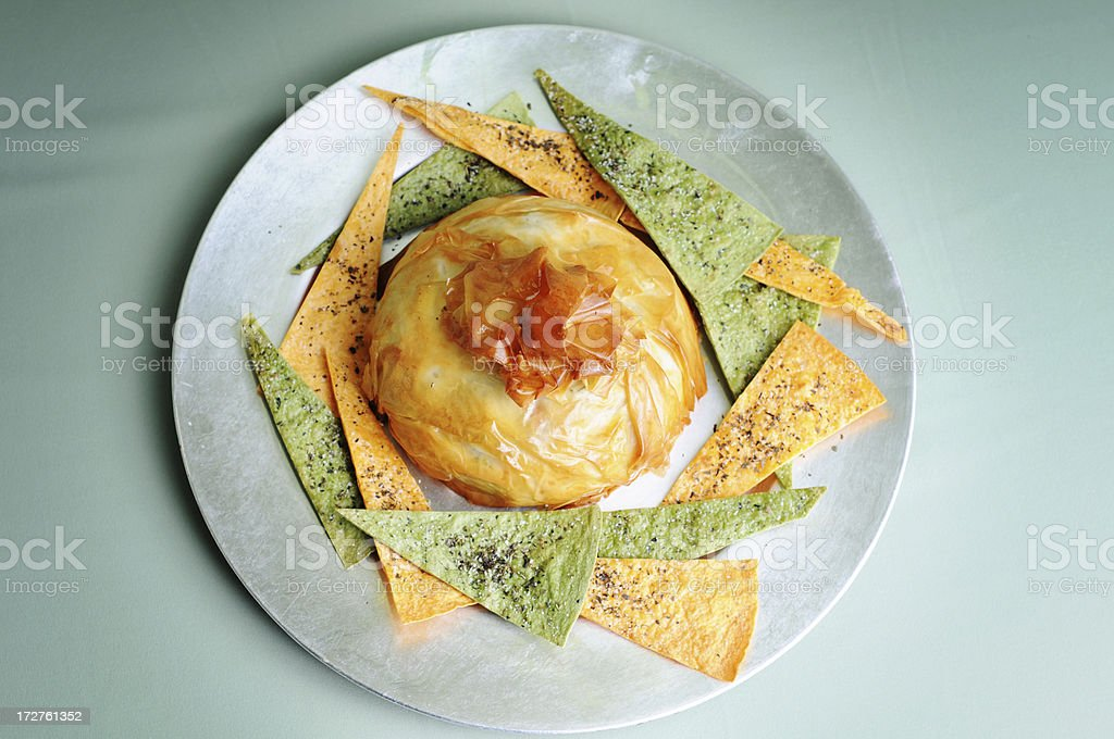 Baked Brie & Pita Chips royalty-free stock photo