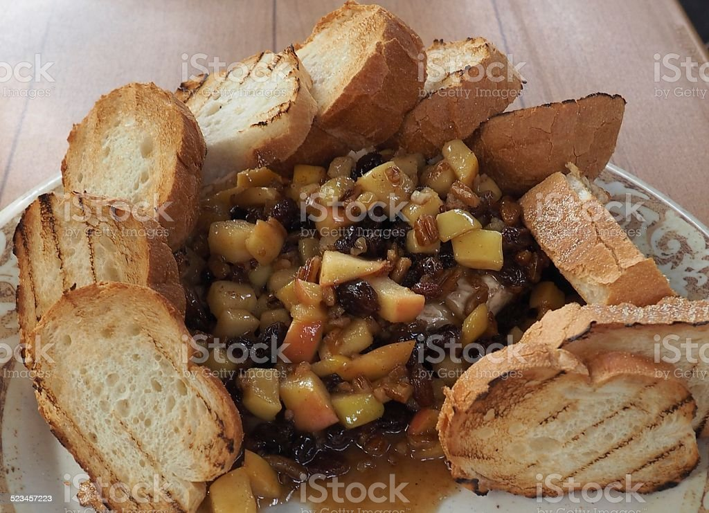 Baked Brie with French Bread stock photo