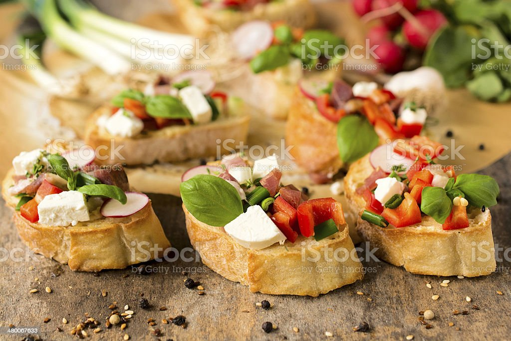 Baked bruschettas stock photo