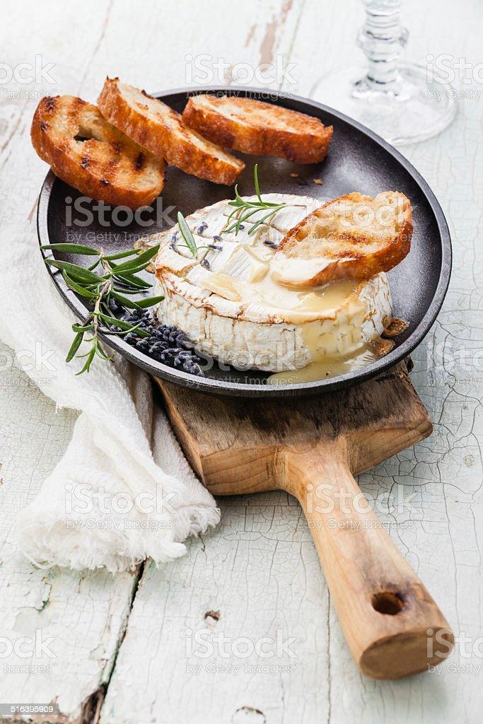 Baked Camembert cheese stock photo