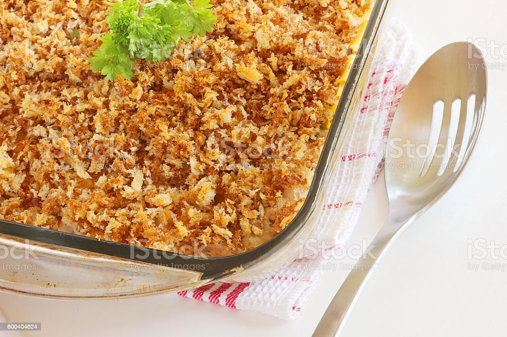 Baked casserole topping stock photo