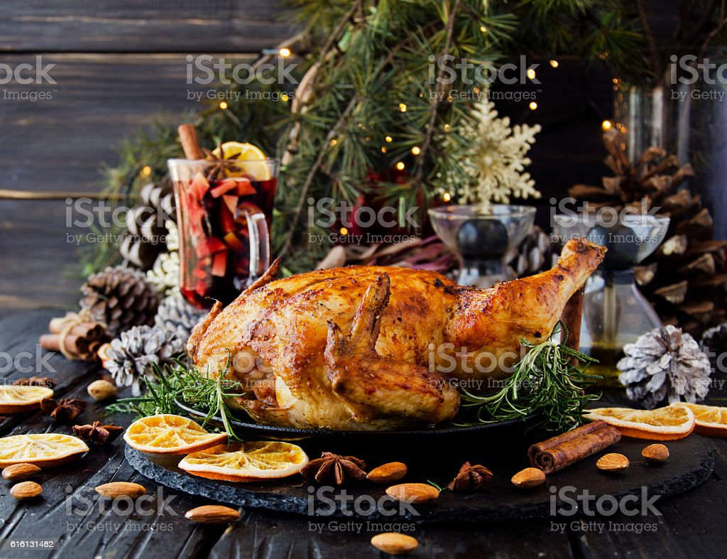 Baked chicken for Christmas or New Year stock photo