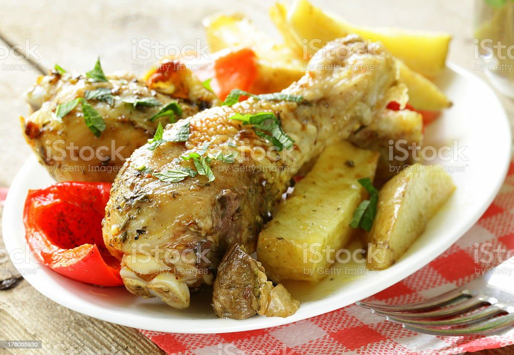 baked chicken legs royalty-free stock photo