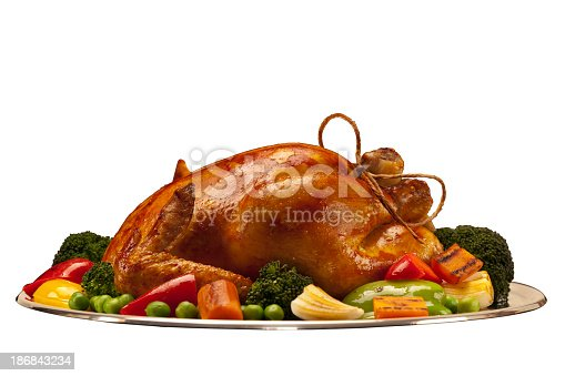 baked chicken or turkey isolated on white background with path