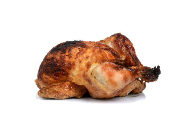 baked chicken - girarrosto foto e immagini stock