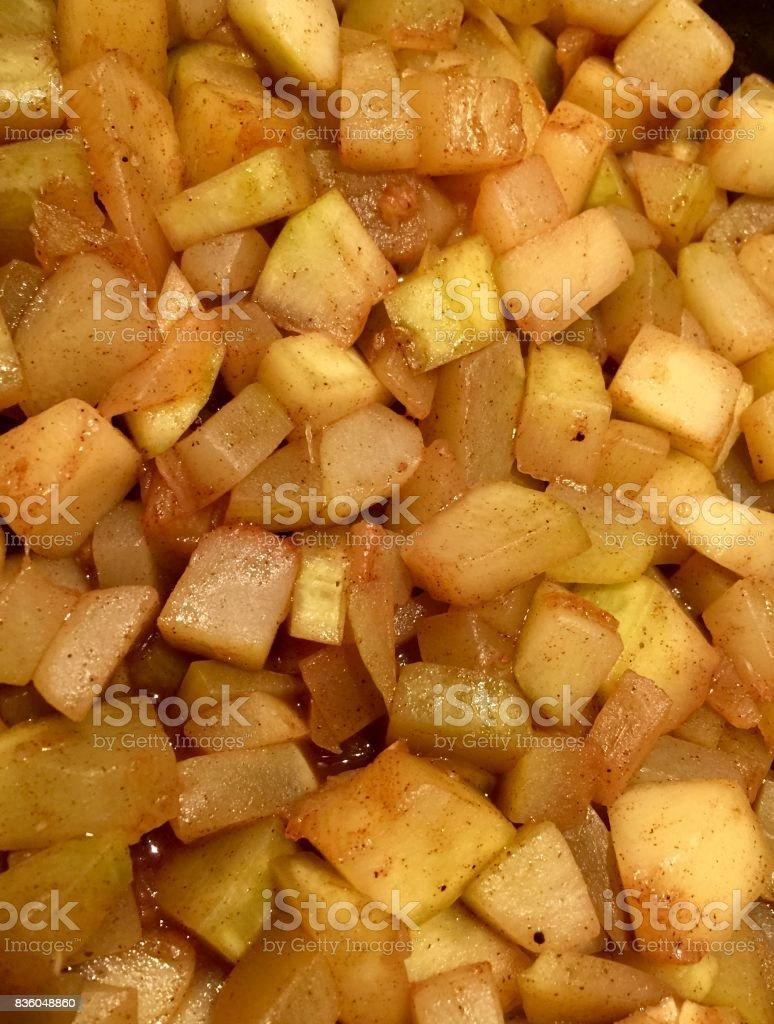 Gebackene Zimt und Äpfeln, Zubereitung von Speisen – Foto
