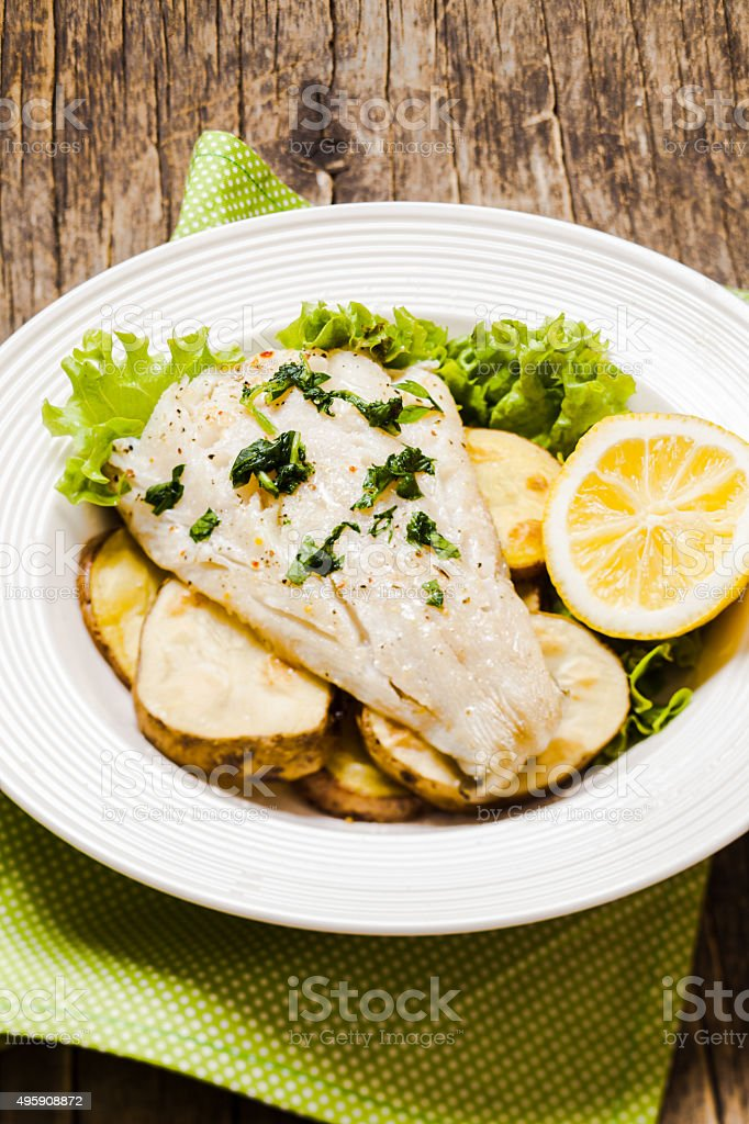 Baked cod fillet stock photo