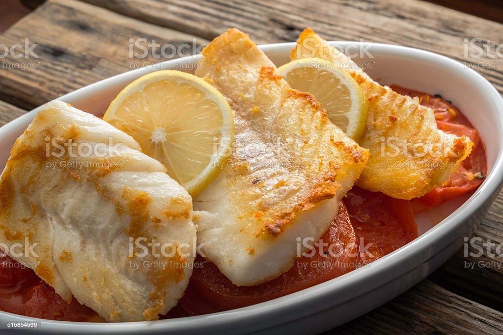 Cozido bacalhau filete - fotografia de stock