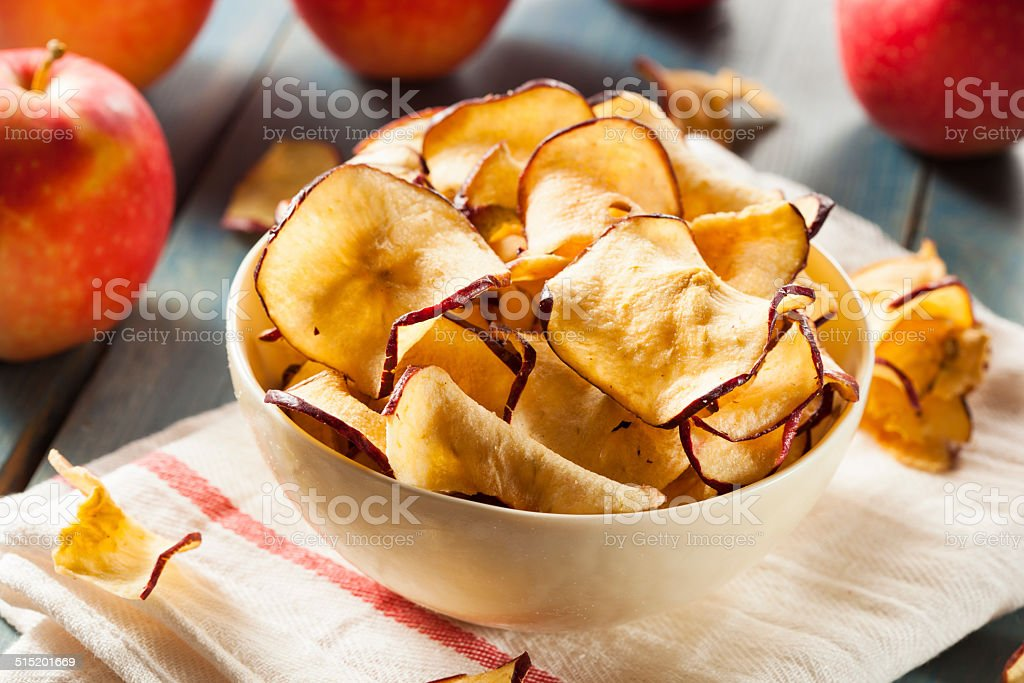 Baked Dehydrated Apples Chips stock photo