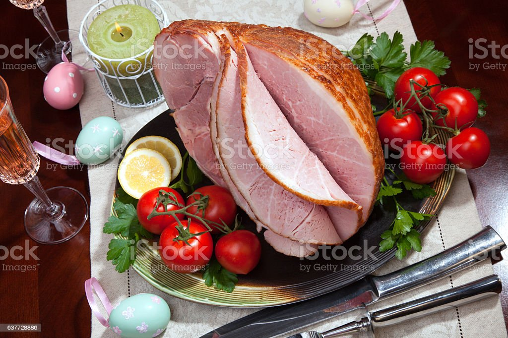 Baked Easter Ham with Vegetables stock photo